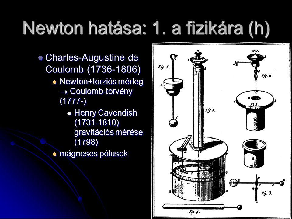 Newton hatása: 1. a fizikára (h) Charles-Augustine de Coulomb (1736-1806) Charles-Augustine de Coulomb (1736-1806) Newton+torziós mérleg  Coulomb-tör