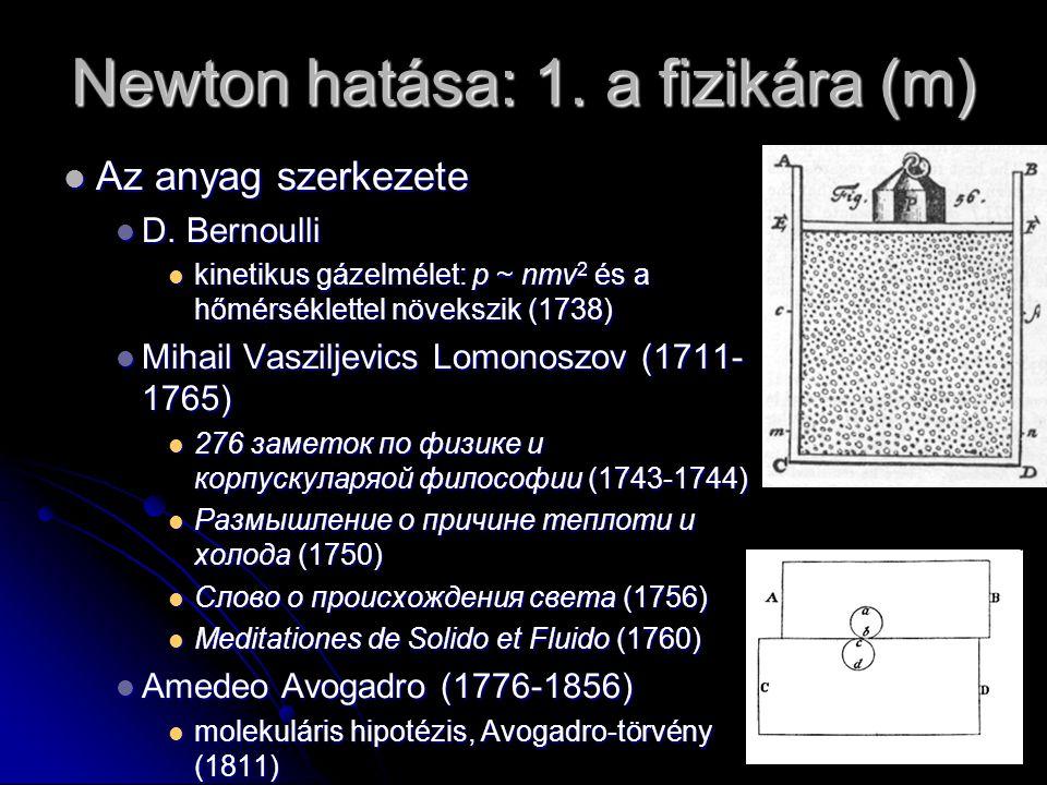 Newton hatása: 1. a fizikára (m) Az anyag szerkezete Az anyag szerkezete D. Bernoulli D. Bernoulli kinetikus gázelmélet: p ~ nmv 2 és a hőmérséklettel