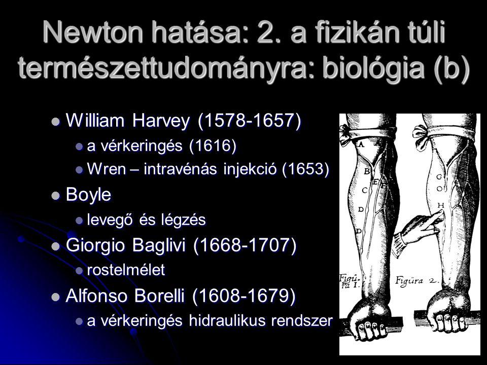 Newton hatása: 2. a fizikán túli természettudományra: biológia (b) William Harvey (1578-1657) William Harvey (1578-1657) a vérkeringés (1616) a vérker