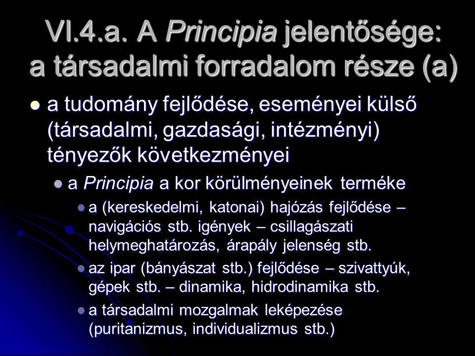 VI.4.a. A Principia jelentősége: a társadalmi forradalom része (a) a tudomány fejlődése, eseményei külső (társadalmi, gazdasági, intézményi) tényezők