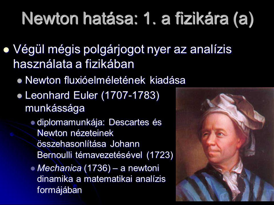 Newton hatása: 1. a fizikára (a) Végül mégis polgárjogot nyer az analízis használata a fizikában Végül mégis polgárjogot nyer az analízis használata a