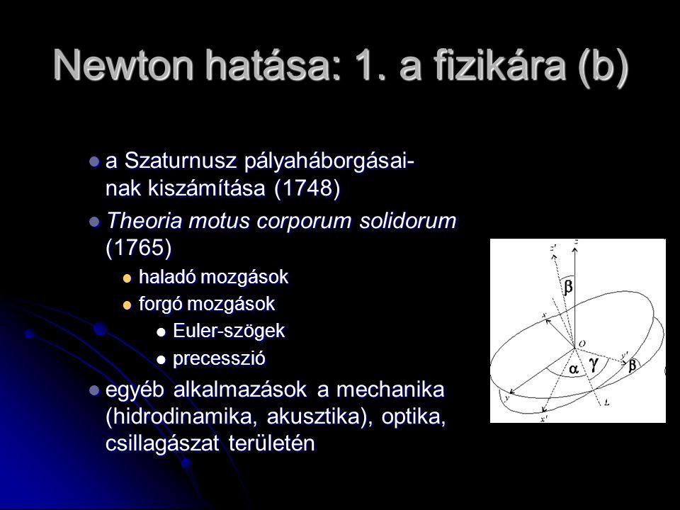 Newton hatása: 1. a fizikára (b) a Szaturnusz pályaháborgásai- nak kiszámítása (1748) a Szaturnusz pályaháborgásai- nak kiszámítása (1748) Theoria mot