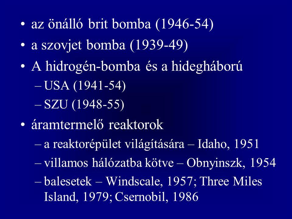 az önálló brit bomba (1946-54) a szovjet bomba (1939-49) A hidrogén-bomba és a hidegháború –USA (1941-54) –SZU (1948-55) áramtermelő reaktorok –a reaktorépület világítására – Idaho, 1951 –villamos hálózatba kötve – Obnyinszk, 1954 –balesetek – Windscale, 1957; Three Miles Island, 1979; Csernobil, 1986