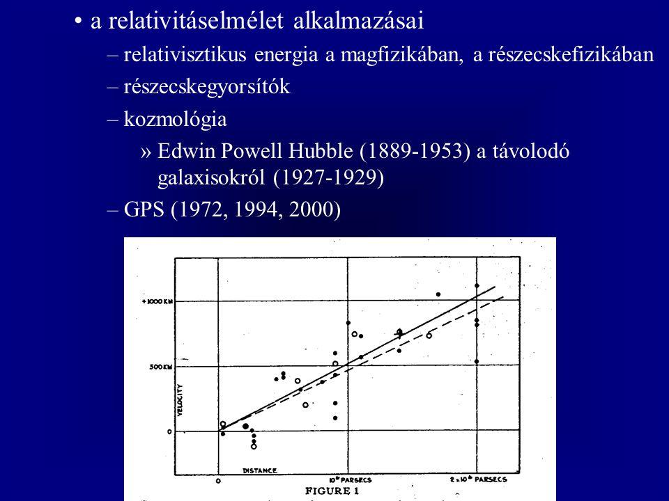 a relativitáselmélet alkalmazásai –relativisztikus energia a magfizikában, a részecskefizikában –részecskegyorsítók –kozmológia »Edwin Powell Hubble (1889-1953) a távolodó galaxisokról (1927-1929) –GPS (1972, 1994, 2000)