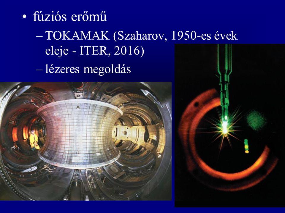 fúziós erőmű –TOKAMAK (Szaharov, 1950-es évek eleje - ITER, 2016) –lézeres megoldás