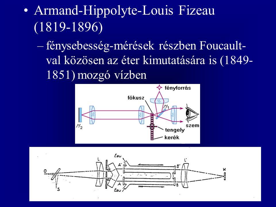 Armand-Hippolyte-Louis Fizeau (1819-1896) –fénysebesség-mérések részben Foucault- val közösen az éter kimutatására is (1849- 1851) mozgó vízben