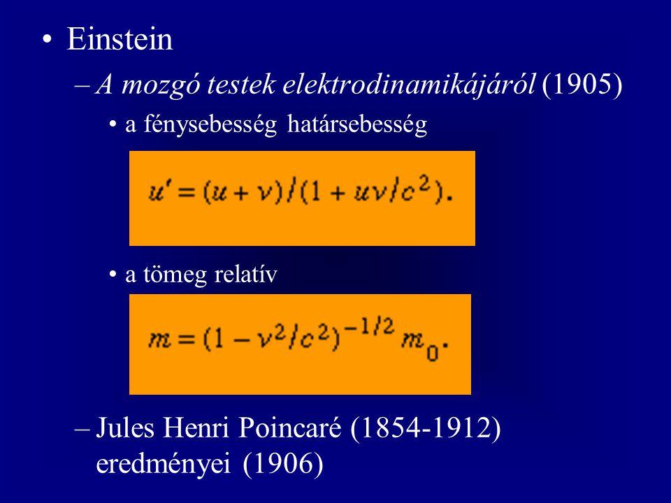 """–Hermann Minkowski (1864-1909) a négydimenziós tér-idő (1907) –az általános relativitáselmélet (1916) a gravitációs és tehetetlenségi erők ekvivalenciája –Eötvös Loránd (1848-1919) torziós ingája (1886-) a """"görbült tér-idő a bizonyítékok –a Merkúr perihélium-precessziója –a fény gravitációs elhajlása (1919) –a gravitációs vöröseltolódás (1960)"""