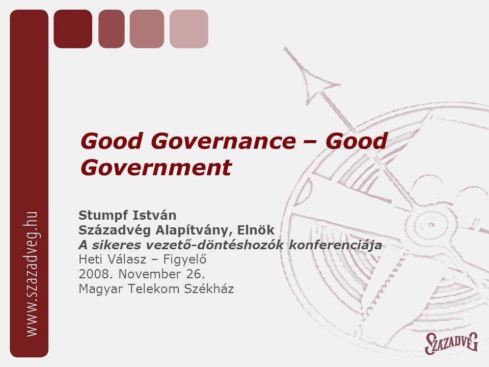Good Governance – Good Government Stumpf István Századvég Alapítvány, Elnök A sikeres vezető-döntéshozók konferenciája Heti Válasz – Figyelő 2008.