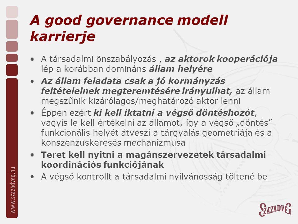 """A good governance modell karrierje A társadalmi önszabályozás, az aktorok kooperációja lép a korábban domináns állam helyére Az állam feladata csak a jó kormányzás feltételeinek megteremtésére irányulhat, az állam megszűnik kizárólagos/meghatározó aktor lenni Éppen ezért ki kell iktatni a végső döntéshozót, vagyis le kell értékelni az államot, így a végső """"döntés funkcionális helyét átveszi a tárgyalás geometriája és a konszenzuskeresés mechanizmusa Teret kell nyitni a magánszervezetek társadalmi koordinációs funkciójának A végső kontrollt a társadalmi nyilvánosság töltené be"""