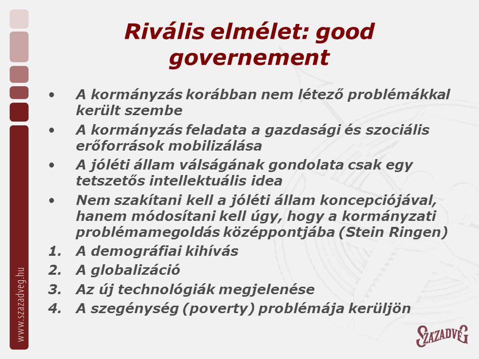 Rivális elmélet: good governement A kormányzás korábban nem létező problémákkal került szembe A kormányzás feladata a gazdasági és szociális erőforrások mobilizálása A jóléti állam válságának gondolata csak egy tetszetős intellektuális idea Nem szakítani kell a jóléti állam koncepciójával, hanem módosítani kell úgy, hogy a kormányzati problémamegoldás középpontjába (Stein Ringen) 1.A demográfiai kihívás 2.A globalizáció 3.Az új technológiák megjelenése 4.A szegénység (poverty) problémája kerüljön