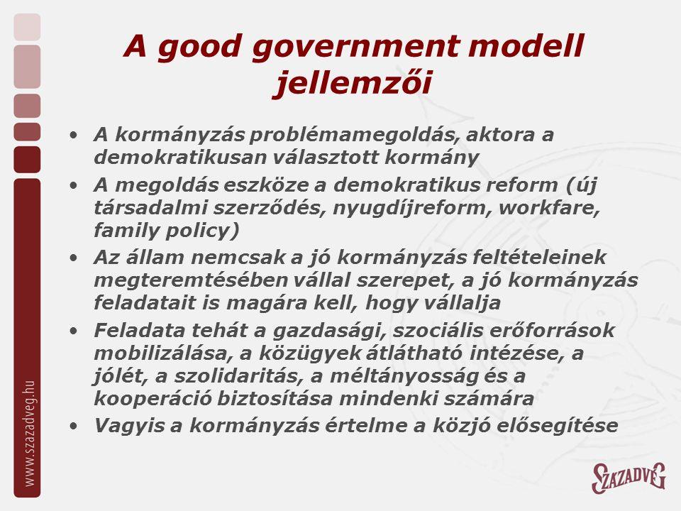 A good government modell jellemzői A kormányzás problémamegoldás, aktora a demokratikusan választott kormány A megoldás eszköze a demokratikus reform (új társadalmi szerződés, nyugdíjreform, workfare, family policy) Az állam nemcsak a jó kormányzás feltételeinek megteremtésében vállal szerepet, a jó kormányzás feladatait is magára kell, hogy vállalja Feladata tehát a gazdasági, szociális erőforrások mobilizálása, a közügyek átlátható intézése, a jólét, a szolidaritás, a méltányosság és a kooperáció biztosítása mindenki számára Vagyis a kormányzás értelme a közjó elősegítése