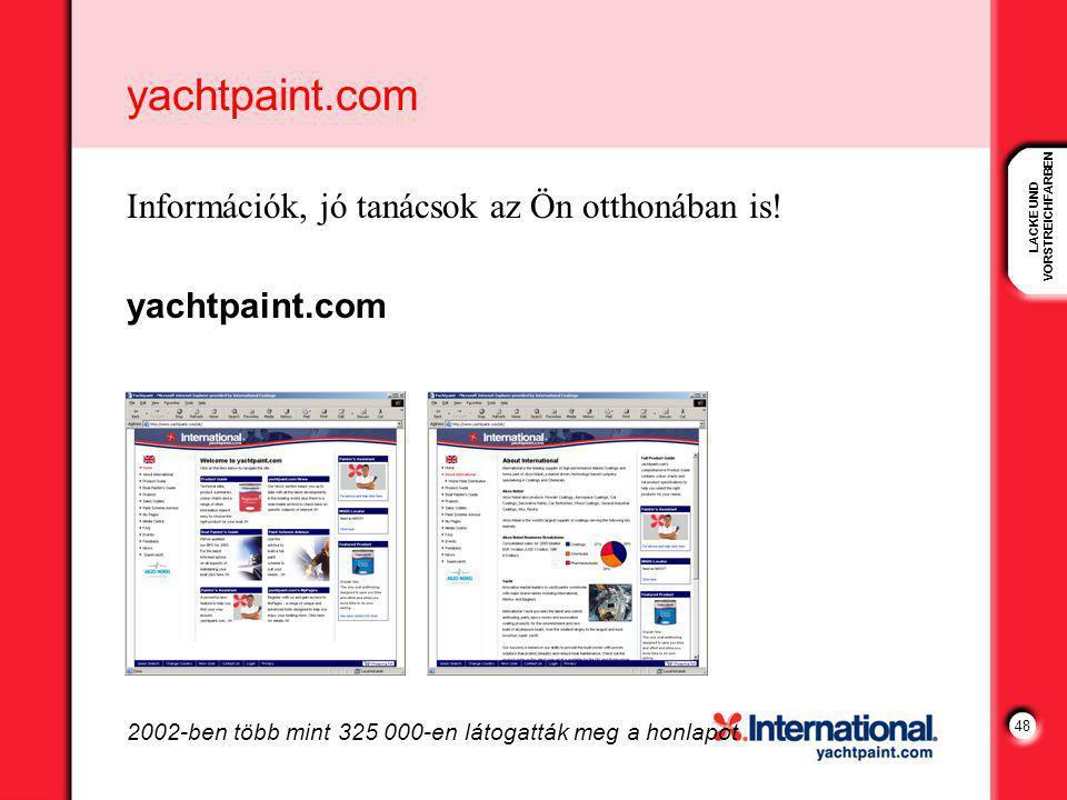 LACKE UND VORSTREICHFARBEN 48 yachtpaint.com Információk, jó tanácsok az Ön otthonában is.