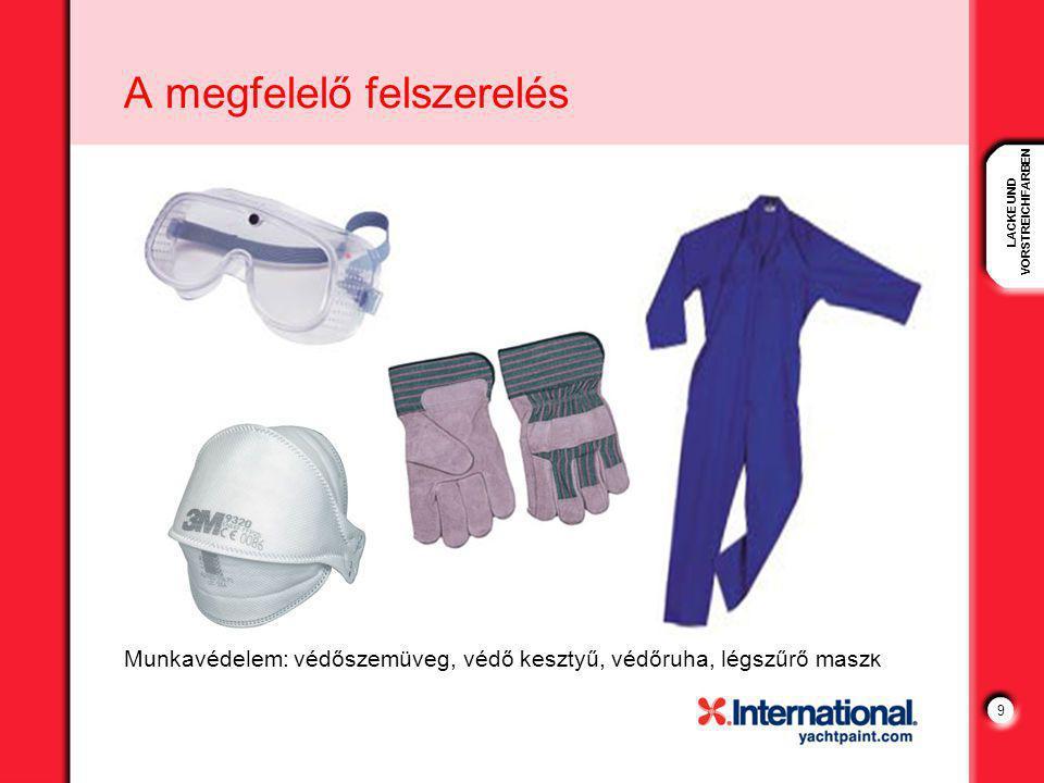 LACKE UND VORSTREICHFARBEN 9 A megfelelő felszerelés Munkavédelem: védőszemüveg, védő kesztyű, védőruha, légszűrő maszk