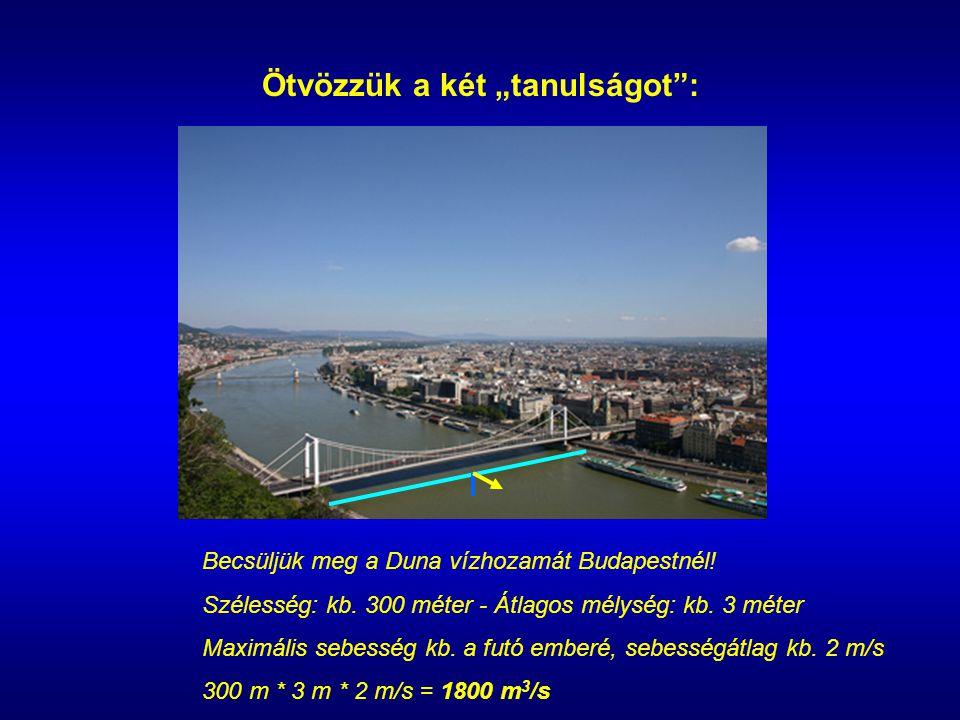 """Ötvözzük a két """"tanulságot : Becsüljük meg a Duna vízhozamát Budapestnél."""
