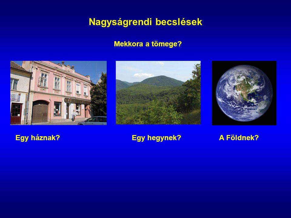 Nagyságrendi becslések Mekkora a tömege Egy háznak Egy hegynek A Földnek
