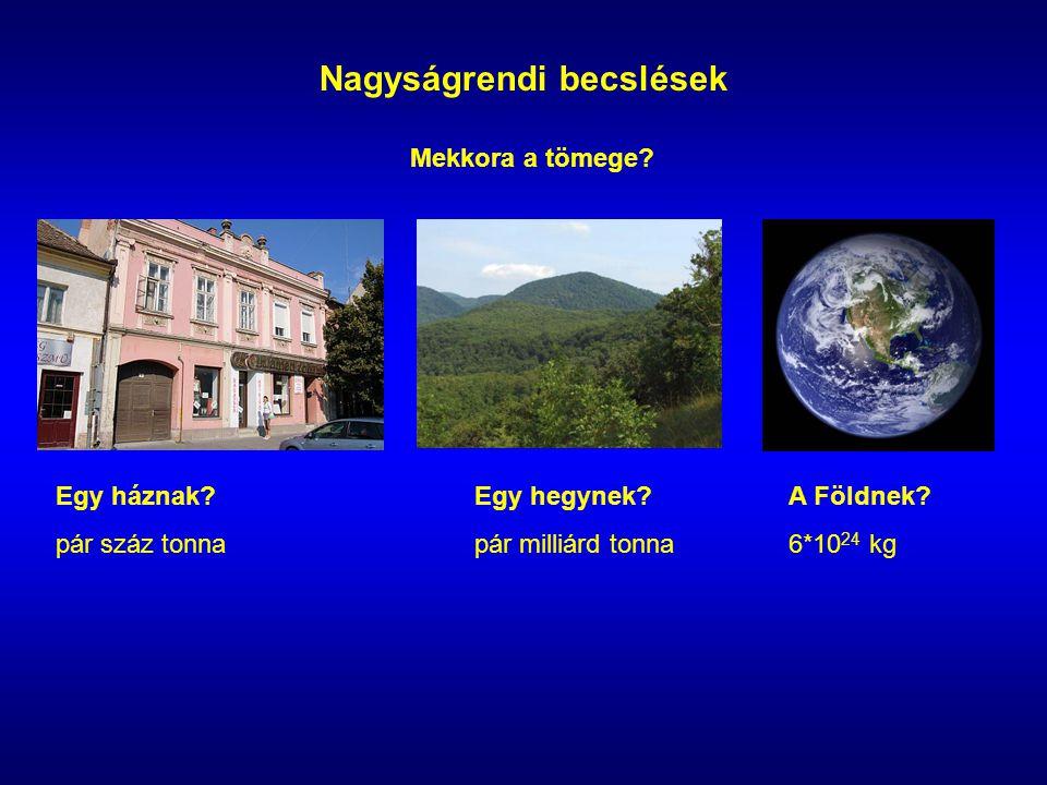Nagyságrendi becslések Mekkora a tömege. Egy háznak?Egy hegynek?A Földnek.