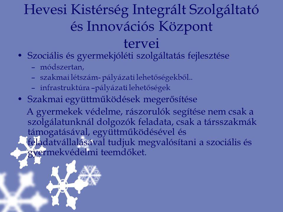Hevesi Kistérség Integrált Szolgáltató és Innovációs Központ tervei Szociális és gyermekjóléti szolgáltatás fejlesztése –módszertan, –szakmai létszám-