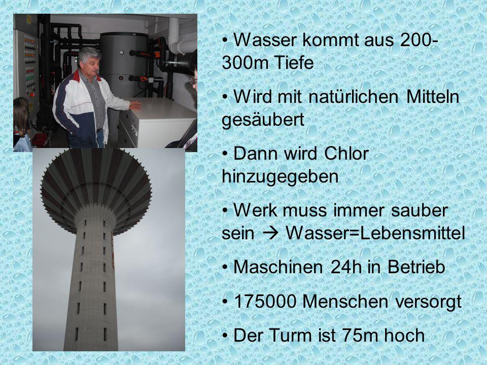 Wasser kommt aus 200- 300m Tiefe Wird mit natürlichen Mitteln gesäubert Dann wird Chlor hinzugegeben Werk muss immer sauber sein  Wasser=Lebensmittel Maschinen 24h in Betrieb 175000 Menschen versorgt Der Turm ist 75m hoch