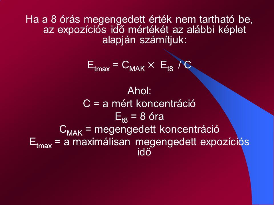 Ha a műszak időtartama hosszabb, mint 8 óra /t m > 8/, akkor a megengedhető legnagyobb átlagkoncentráció értéke: C m = C MAK × 8 / t m
