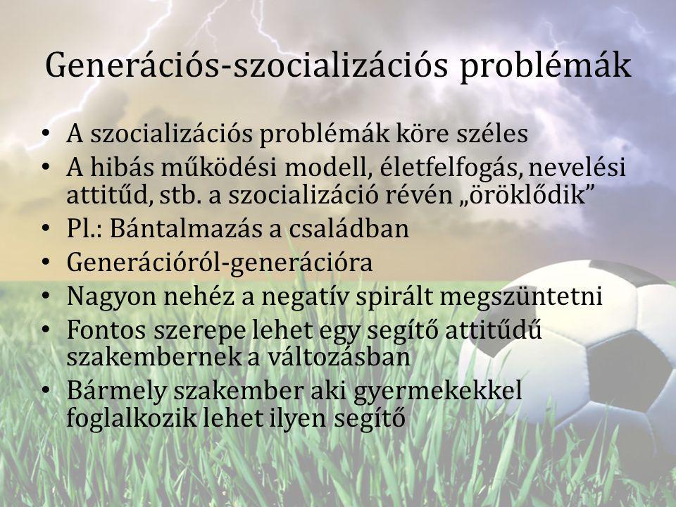 Generációs-szocializációs problémák A szocializációs problémák köre széles A hibás működési modell, életfelfogás, nevelési attitűd, stb. a szocializác