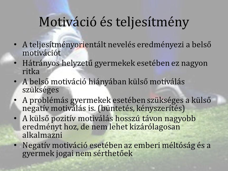 Motiváció és teljesítmény A teljesítményorientált nevelés eredményezi a belső motivációt Hátrányos helyzetű gyermekek esetében ez nagyon ritka A belső