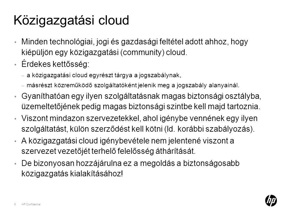 Közigazgatási cloud 6HP Confidential Minden technológiai, jogi és gazdasági feltétel adott ahhoz, hogy kiépüljön egy közigazgatási (community) cloud.