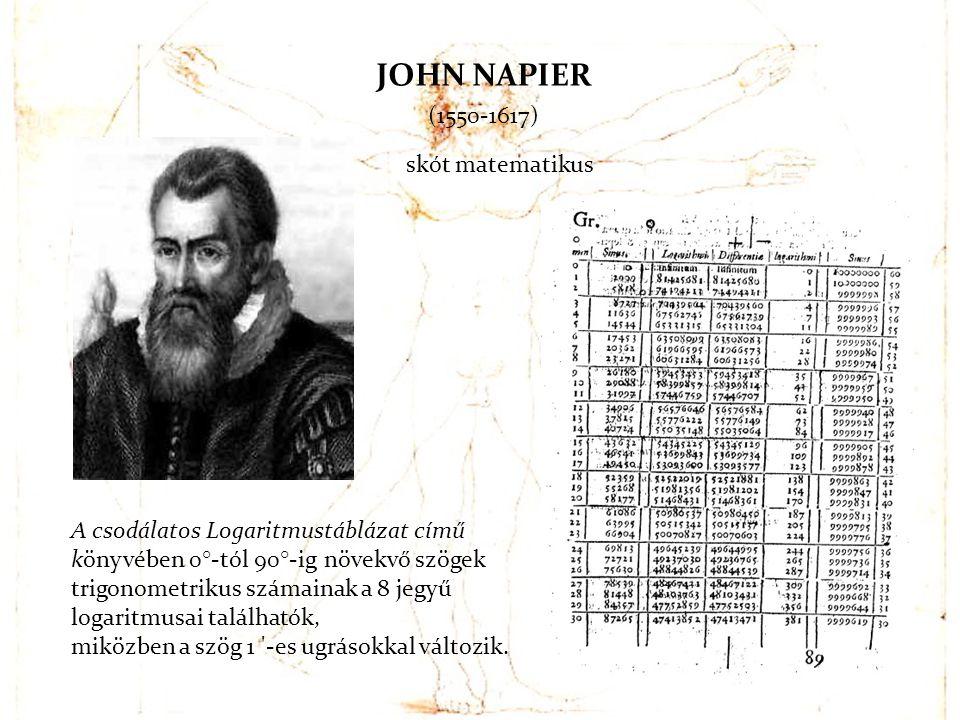 JOHN NAPIER (1550-1617) skót matematikus A csodálatos Logaritmustáblázat című könyvében 0°-tól 90°-ig növekvő szögek trigonometrikus számainak a 8 jeg