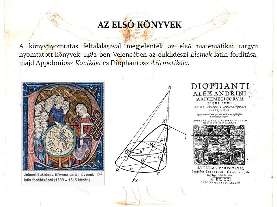 AZ ELS Ő KÖNYVEK A könyvnyomtatás feltalálásával megjelentek az els ő matematikai tárgyú nyomtatott könyvek: 1482-ben Velencében az euklidészi Elemek