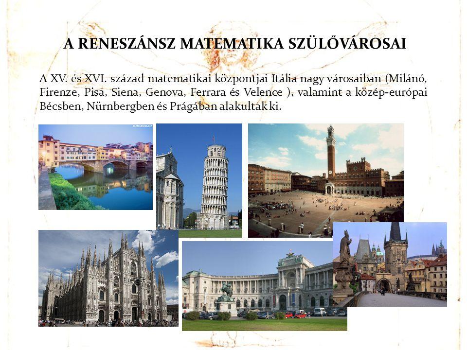 A XV. és XVI. század matematikai központjai Itália nagy városaiban (Milánó, Firenze, Pisa, Siena, Genova, Ferrara és Velence ), valamint a közép-európ