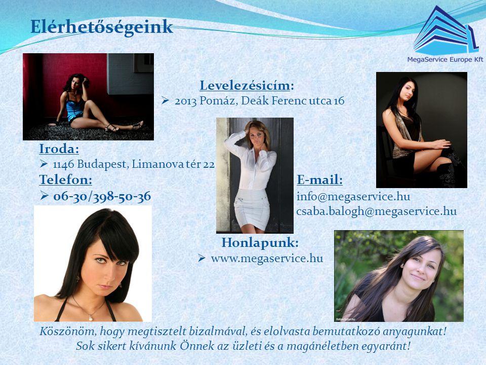 Levelezésicím:  2013 Pomáz, Deák Ferenc utca 16 Iroda:  1146 Budapest, Limanova tér 22 Telefon:E-mail:  06-30/398-50-36 info@megaservice.hu csaba.b
