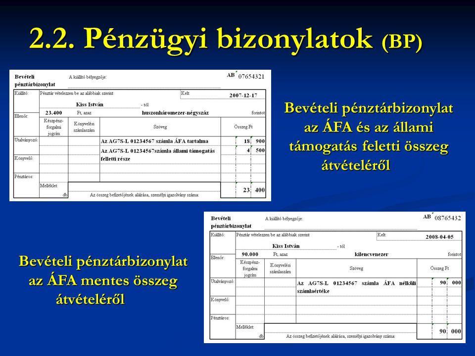 Bevételi pénztárbizonylat az ÁFA és az állami támogatás feletti összeg átvételéről 2.2. Pénzügyi bizonylatok (BP) Bevételi pénztárbizonylat az ÁFA men