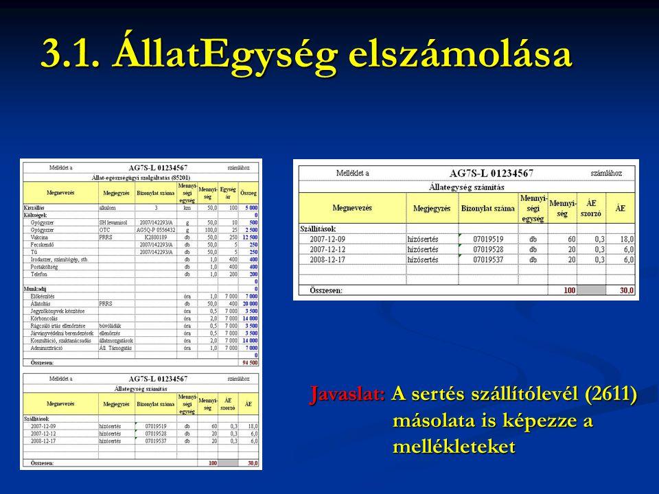 Javaslat: A sertés szállítólevél (2611) másolata is képezze a másolata is képezze a mellékleteket mellékleteket 3.1. ÁllatEgység elszámolása