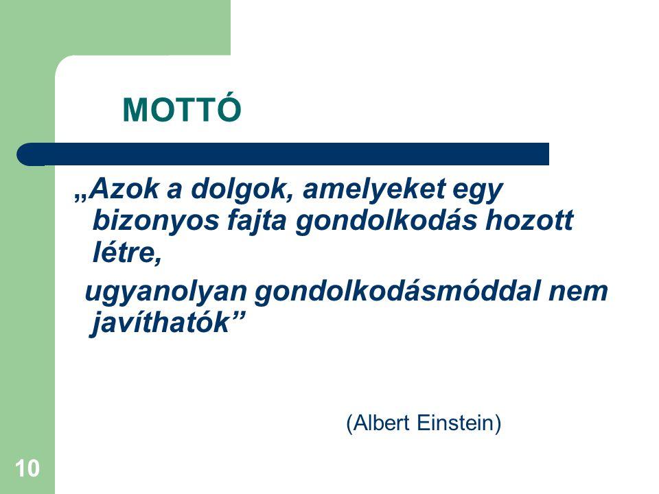 """10 MOTTÓ """"Azok a dolgok, amelyeket egy bizonyos fajta gondolkodás hozott létre, ugyanolyan gondolkodásmóddal nem javíthatók (Albert Einstein)"""
