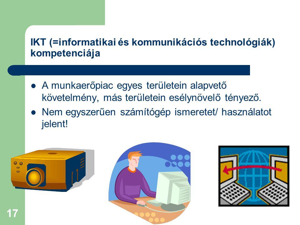 17 IKT (=informatikai és kommunikációs technológiák) kompetenciája A munkaerőpiac egyes területein alapvető követelmény, más területein esélynövelő tényező.