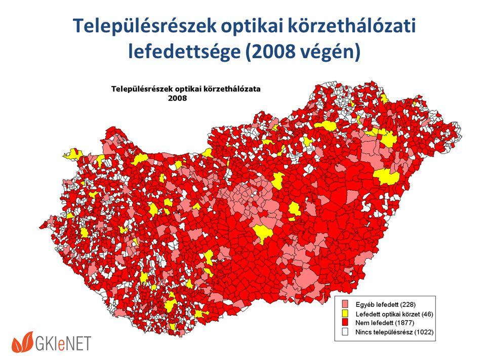 Településrészek optikai körzethálózati lefedettsége (2008 végén)