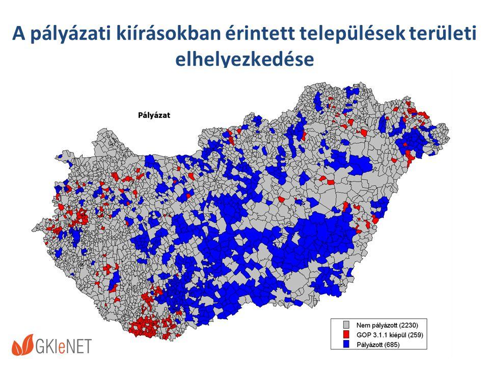 A pályázati kiírásokban érintett települések területi elhelyezkedése