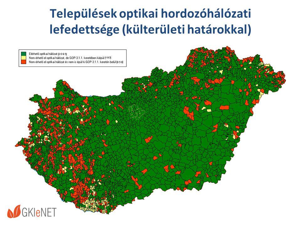 Települések optikai hordozóhálózati lefedettsége (külterületi határokkal)