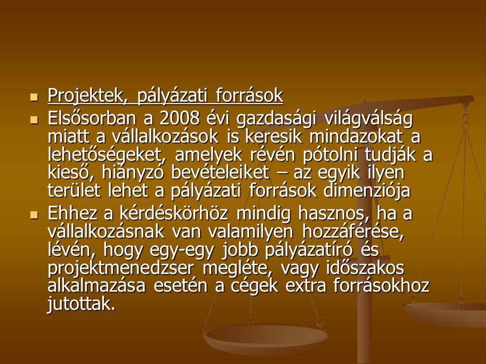 Projektek, pályázati források Projektek, pályázati források Elsősorban a 2008 évi gazdasági világválság miatt a vállalkozások is keresik mindazokat a