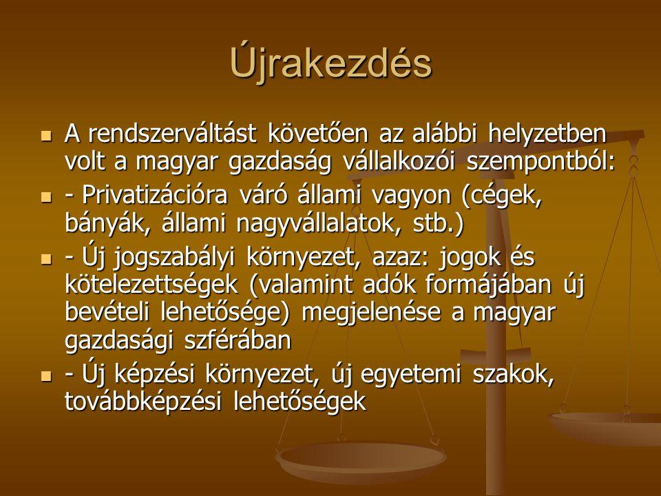 Újrakezdés A rendszerváltást követően az alábbi helyzetben volt a magyar gazdaság vállalkozói szempontból: A rendszerváltást követően az alábbi helyze