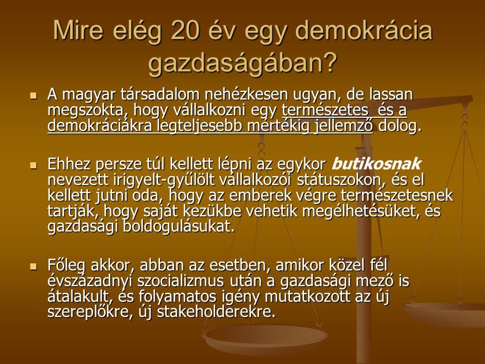 Mire elég 20 év egy demokrácia gazdaságában? A magyar társadalom nehézkesen ugyan, de lassan megszokta, hogy vállalkozni egy természetes és a demokrác