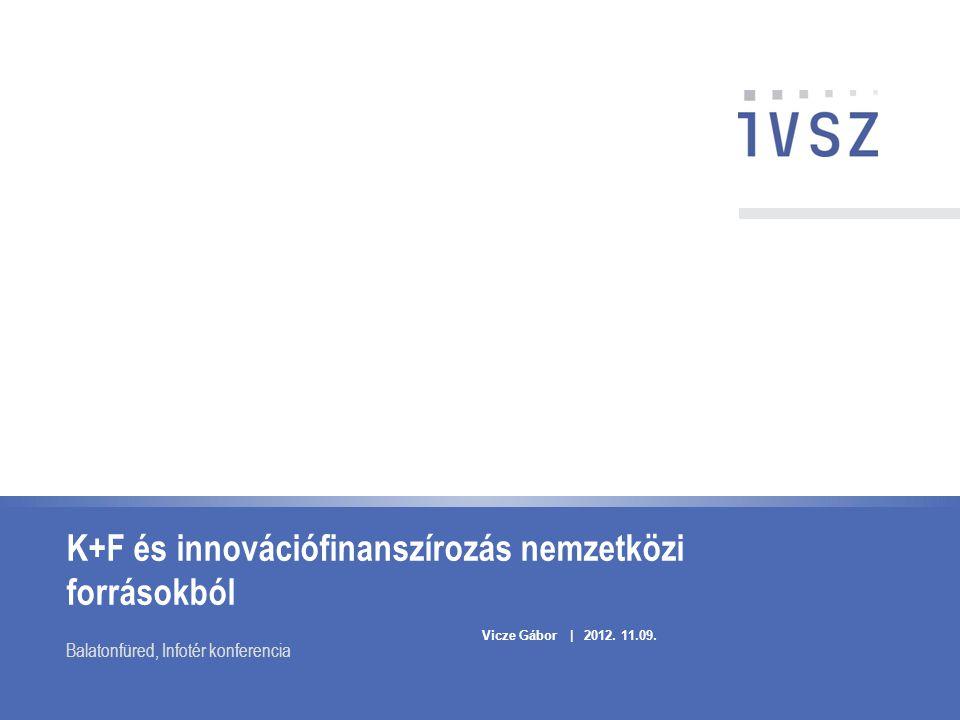 K+F és innovációfinanszírozás nemzetközi forrásokból Balatonfüred, Infotér konferencia Vicze Gábor | 2012. 11.09.