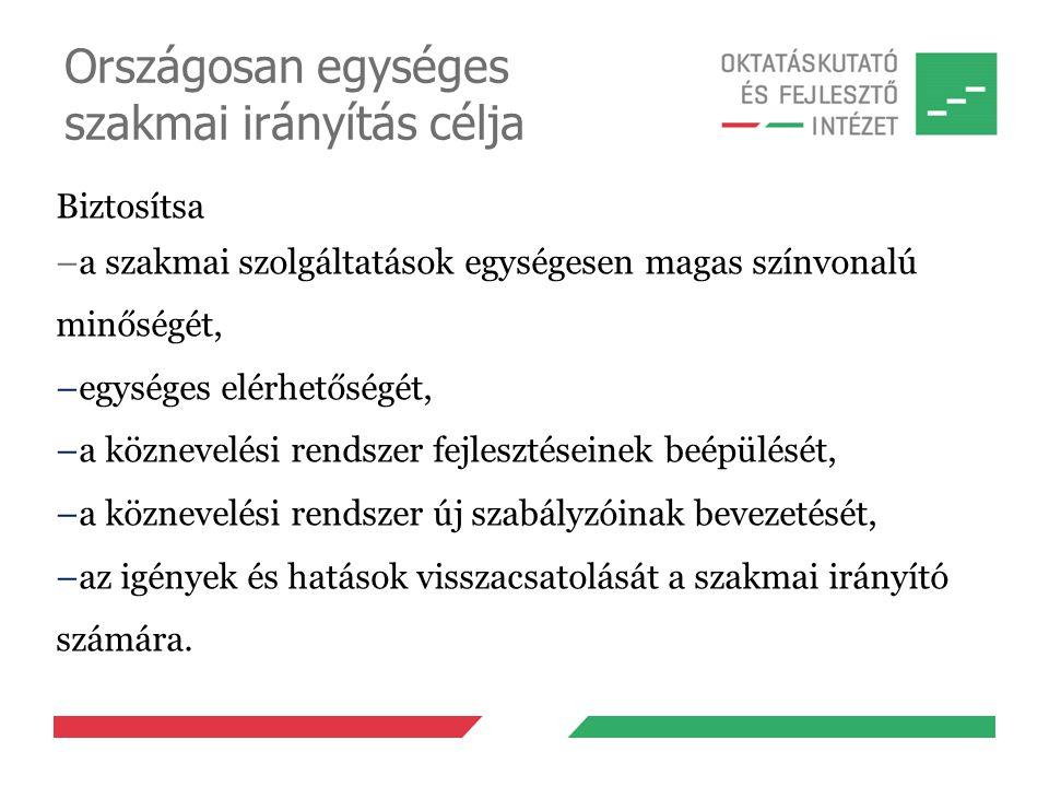 Országosan egységes szakmai irányítás célja Biztosítsa –a szakmai szolgáltatások egységesen magas színvonalú minőségét, –egységes elérhetőségét, –a kö