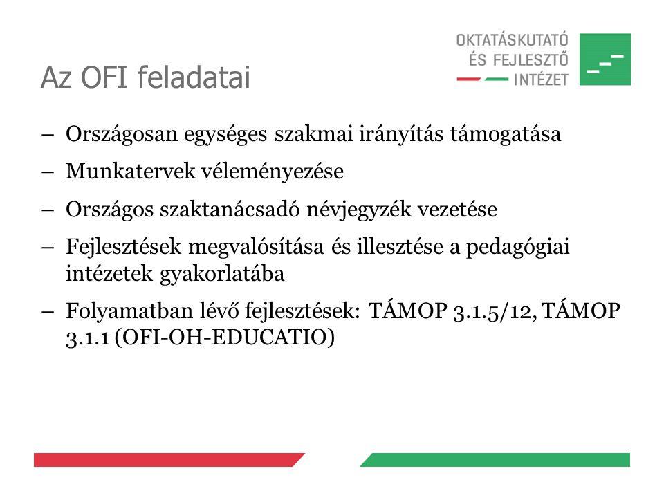 Az OFI feladatai –Országosan egységes szakmai irányítás támogatása –Munkatervek véleményezése –Országos szaktanácsadó névjegyzék vezetése –Fejlesztések megvalósítása és illesztése a pedagógiai intézetek gyakorlatába –Folyamatban lévő fejlesztések: TÁMOP 3.1.5/12, TÁMOP 3.1.1 (OFI-OH-EDUCATIO)