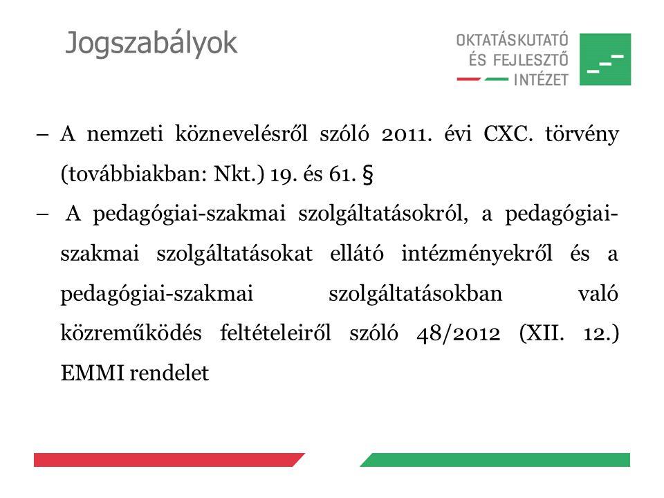 Jogszabályok –A nemzeti köznevelésről szóló 2011. évi CXC. törvény (továbbiakban: Nkt.) 19. és 61. § – A pedagógiai-szakmai szolgáltatásokról, a pedag