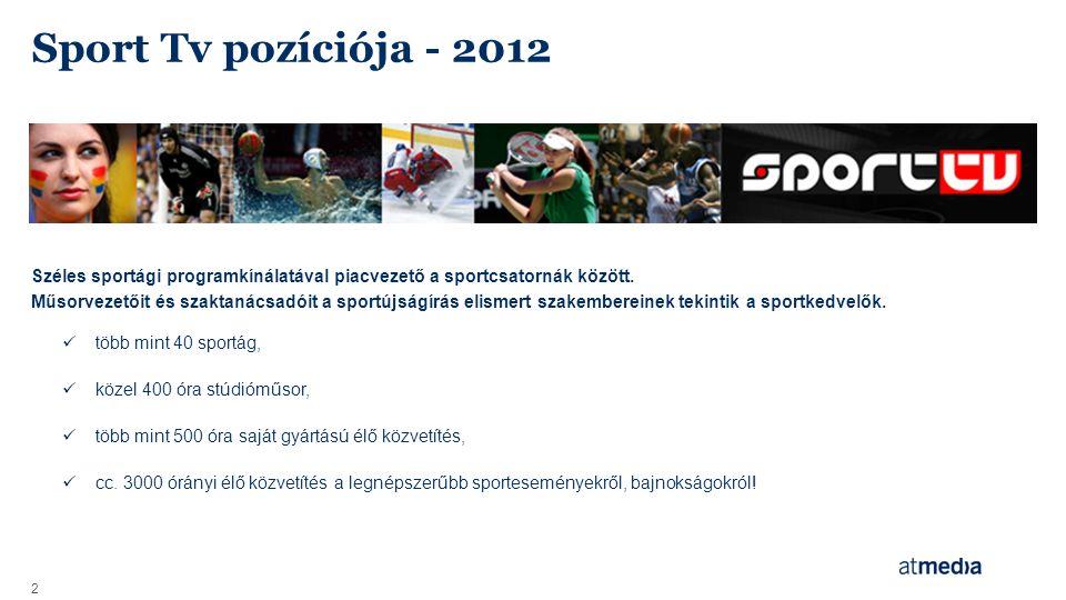 Sport Tv pozíciója - 2012 2 Széles sportági programkínálatával piacvezető a sportcsatornák között. Műsorvezetőit és szaktanácsadóit a sportújságírás e