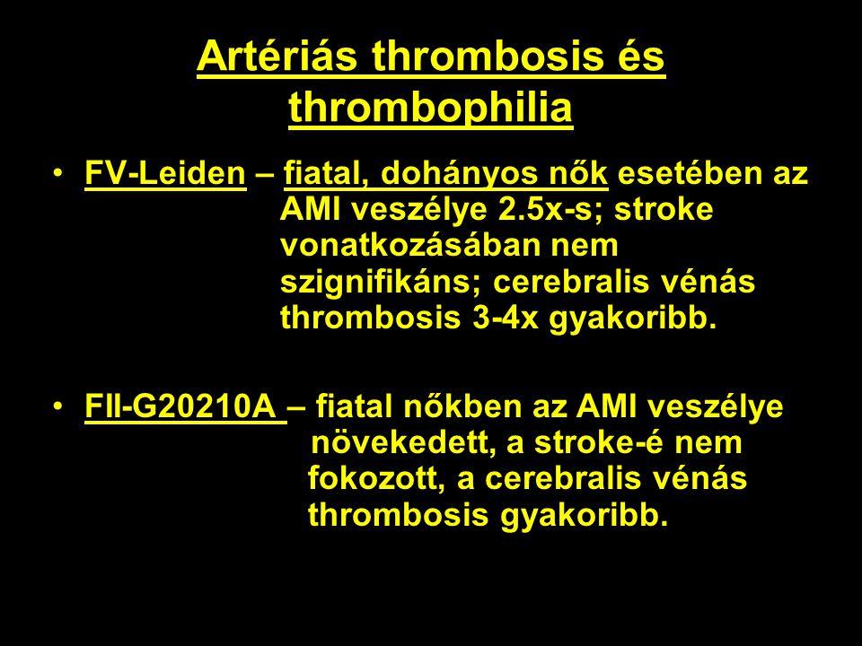 Artériás thrombosis és thrombophilia FV-Leiden – fiatal, dohányos nők esetében az AMI veszélye 2.5x-s; stroke vonatkozásában nem szignifikáns; cerebra