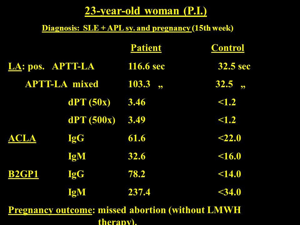 """23-year-old woman (P.I.) Diagnosis: SLE + APL sy. and pregnancy (15th week) Patient Control LA: pos. APTT-LA116.6 sec32.5 sec APTT-LA mixed 103.3 """" 32"""