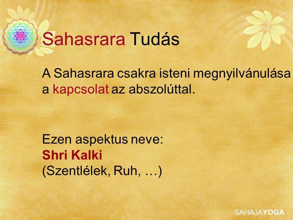 SAHAJAYOGA Ezen aspektus neve: Shri Kalki (Szentlélek, Ruh, …) A Sahasrara csakra isteni megnyilvánulása a kapcsolat az abszolúttal. Sahasrara Tudás