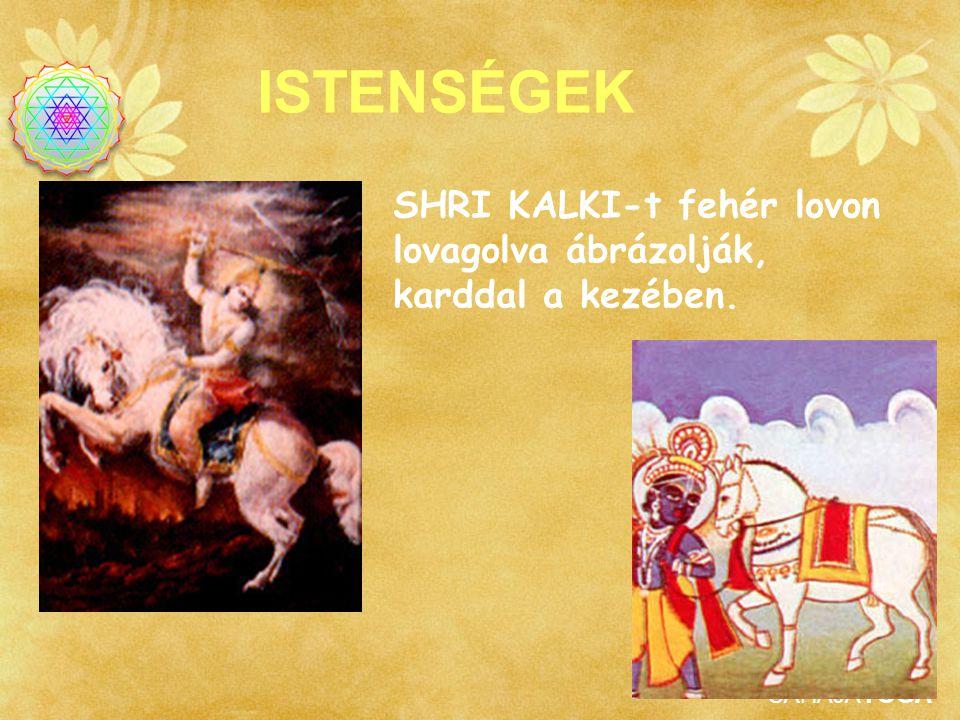 SAHAJAYOGA ISTENSÉGEK SHRI KALKI-t fehér lovon lovagolva ábrázolják, karddal a kezében.