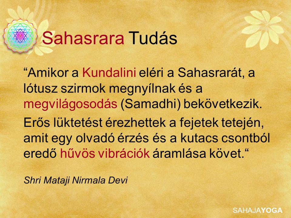"""SAHAJAYOGA """"Amikor a Kundalini eléri a Sahasrarát, a lótusz szirmok megnyílnak és a megvilágosodás (Samadhi) bekövetkezik. Erős lüktetést érezhettek a"""